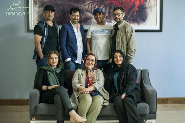 شهاب حسینی کنار پژمان جمشیدی و ساره بیات+عکس