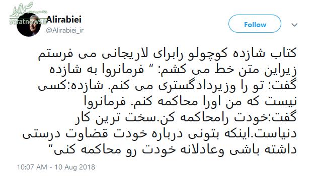 کنایه علی ربیعی خطاب به رئیس مجلس +عکس
