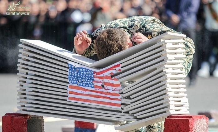 برخورد جالب سرباز تبریزی با پرچم آمریکا