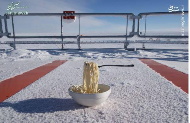 تصاویر/ یخ زدن غذای داغ در قطب جنوب