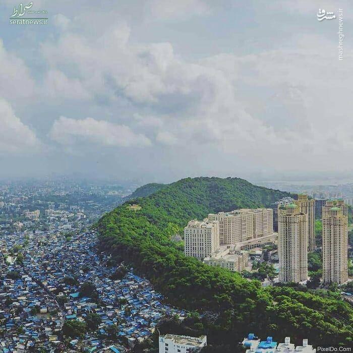 عکس/ مرز بین فقیر و غنی در بمبئی
