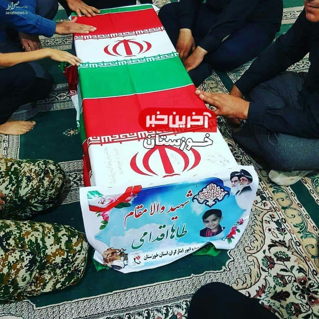 عکس/ تابوت کوچکترین شهید حادثه تروریستی اهواز