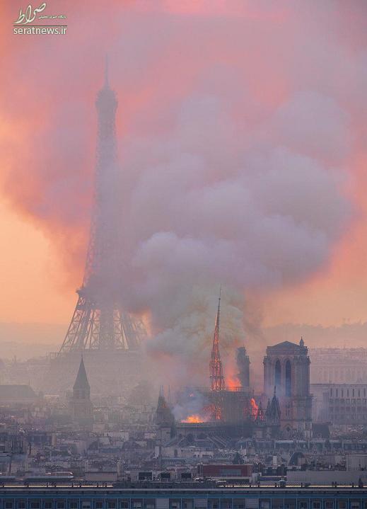 عکس/ کلیسای «نوتردام» در آتش سوخت