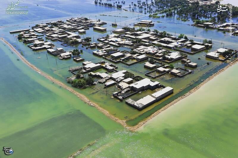 عکس/ تصویر جدید هوایی از سیلاب خوزستان