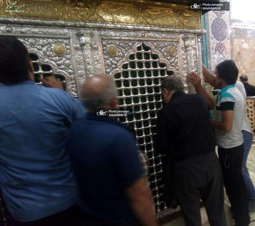 عکس/ نجفی در حرم حضرت معصومه(س) پس از ارتکاب قتل