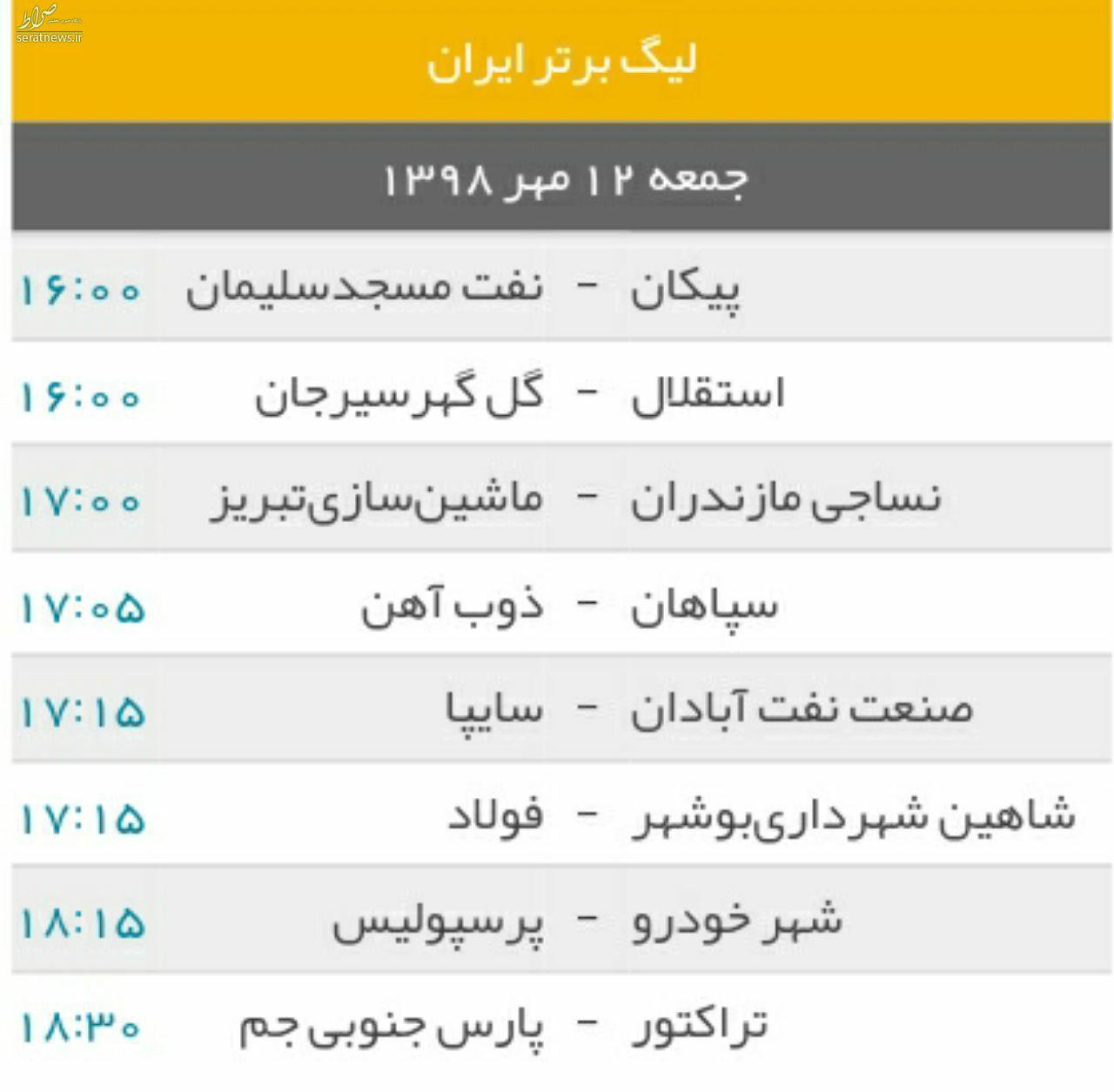 جدول/ برنامه دیدارهای هفته ششم لیگ برتر فوتبال ایران