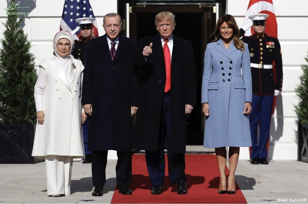 عکس/ پوشش همسران ترامپ و اردوغان در کاخ سفید