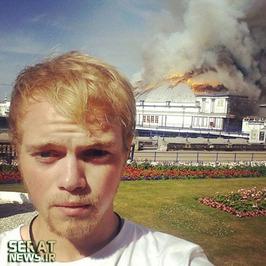 سلفی یک جوان انگلیسی از آتشسوزی بزرگ در بندر «ایستبورن»