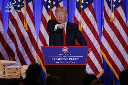 درگیری لفظی دونالد ترامپ رییس جمهور منتخب آمریکا با یک خبرنگار در اولین کنفرانس خبری - برج ترامپ در منهتن نیویورک