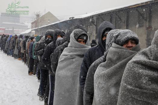 مهاجران و پناهجویان در صف گرفتن غذا در هوای سرد و برفی بلگراد صربستان. این مهاجران در یک انبار متروکه زندگی می کنند