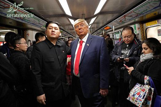 بدل کیم جونگ اون رهبر کره شمالی و دونالد ترامپ رییس جمهور آمریکا  در یک قطار در هنگ کنگ