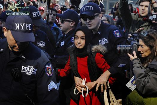 بازداشت یک زن محجبه توسط افسران پلیس نیویورک