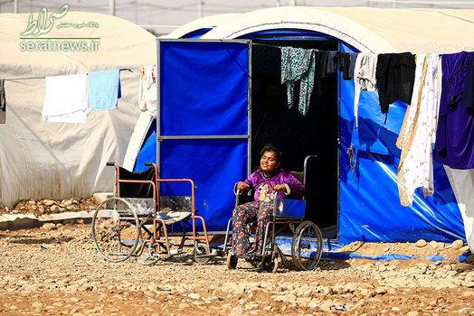 دختر معلول و آواره عراقی بر روی یک ویلچر در اردوگاه حمال القلیل جنوب موصل
