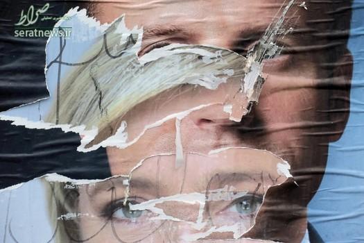 پاره کردن پوسترهای تبلیغاتی مارین لوپن و امانوئل مکرون در فرانسه