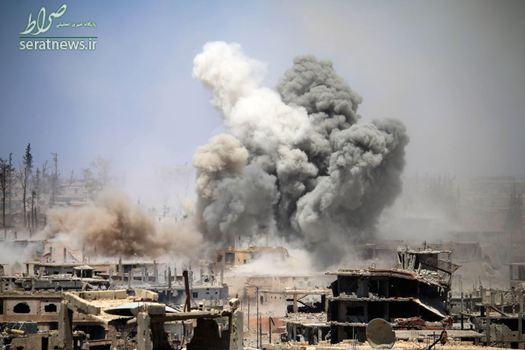 حمله هوایی به یک منطقه تحت کنترل تروریست ها در درعای سوریه