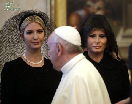 عبور پاپ فرانسیس رهبر کاتولیک های جهان از مقابل ایوانکا و ملانیا ترامپ دختر و همسر رییس جمهور آمریکا