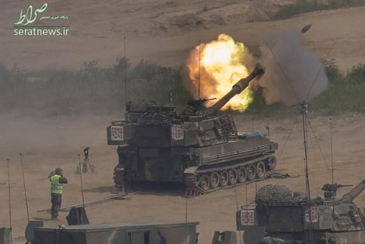 لحظه شلیک یک تانک ارتش کره جنوبی در نزدیکی مرز با کره شمالی