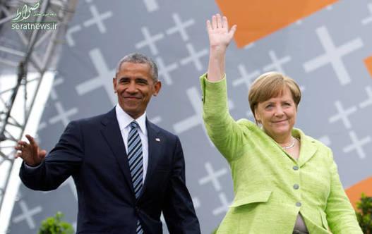 گفتگوی اوباما و مرکل در حضور هواداران