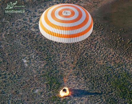 لحظه بازگشت کپسول فضایی سایوز حامل دو فضانورد روس و فرانسوی به زمین